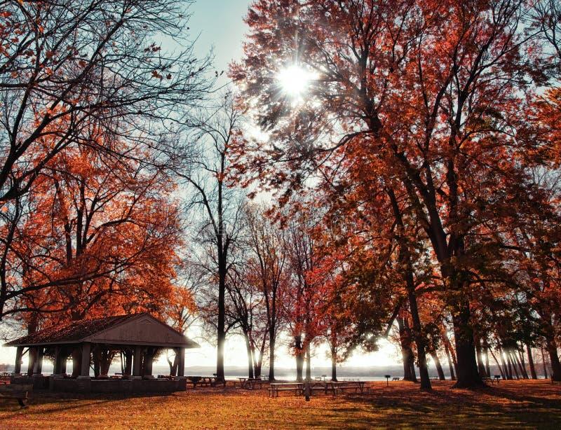 Terrains de camping en automne image libre de droits