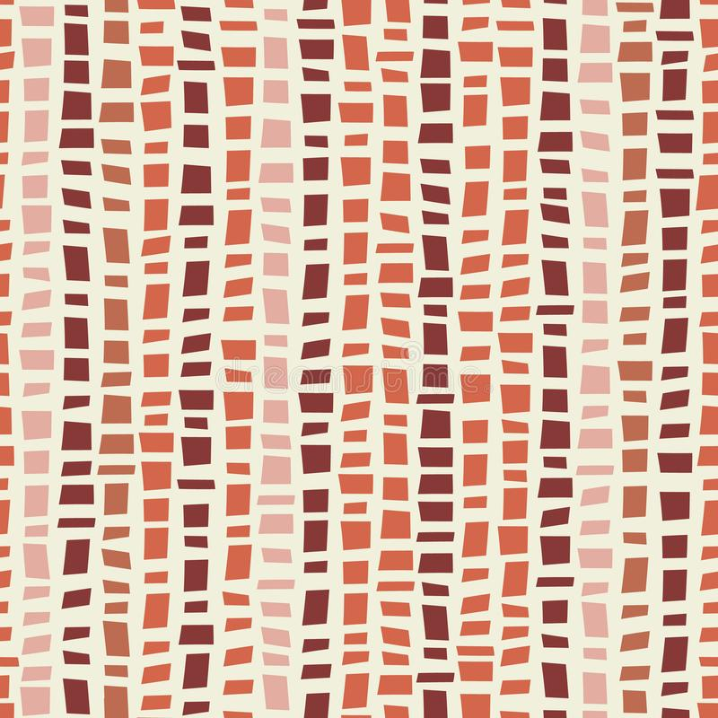Terrakotta farbiger vertikaler gestreifter Entwurf der Mosaik Terrazzo-Art Nahtloses Vektormuster auf Sahnehintergrund gro stock abbildung