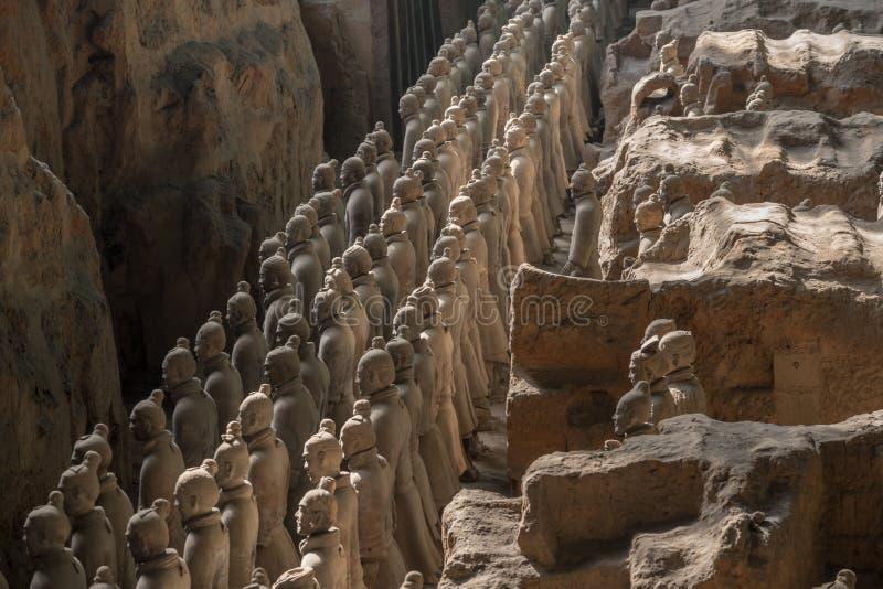 Terrakottaarmékrigare som begravas i kejsaregravvalv utanför Xian China royaltyfri fotografi