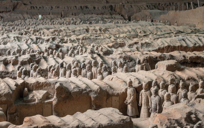 Terrakottaarmékrigare som begravas i kejsaregravvalv utanför Xian China royaltyfria foton