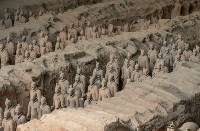 Terrakottaarmékrigare som begravas i kejsaregravvalv utanför Xian China royaltyfri foto