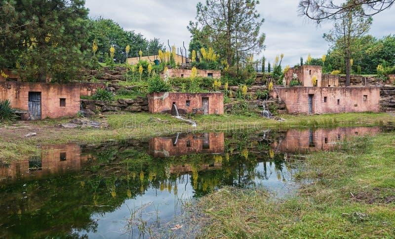 Terrakottahus med reflexion i ett damm royaltyfria bilder