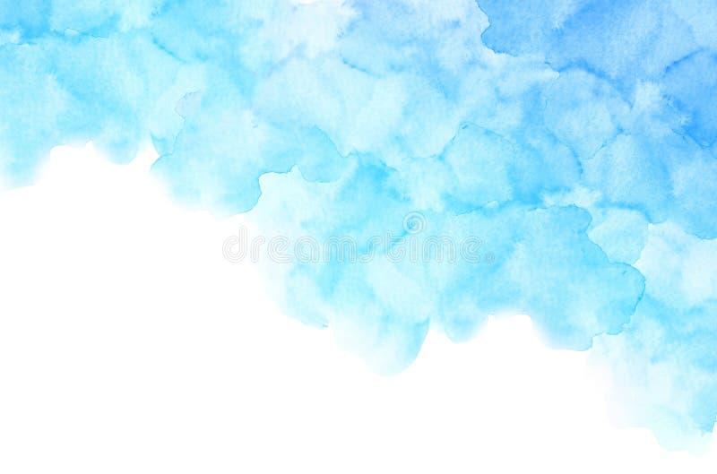 Terraplén azul claro de la acuarela del extracto con tensiones en el fondo blanco stock de ilustración