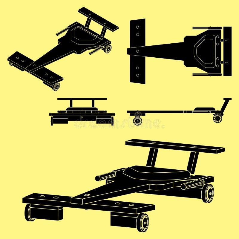 Terraplén clásico del negro del coche del Soapbox sin esquema stock de ilustración