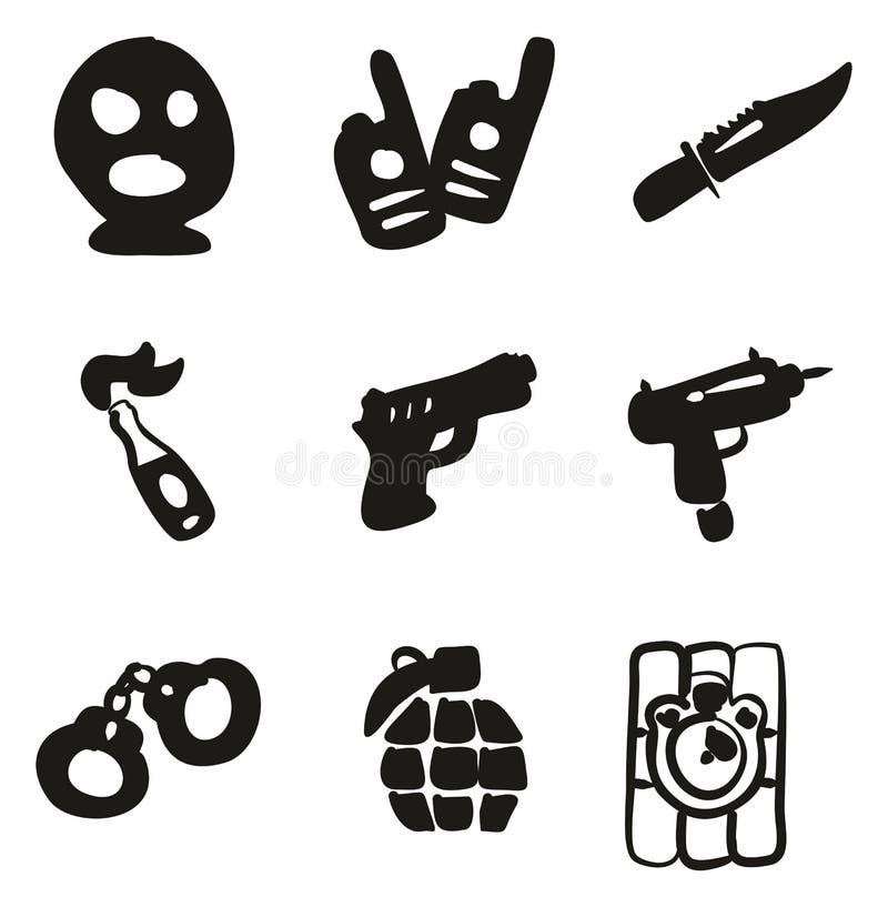 Terraplén criminal de los iconos a pulso libre illustration