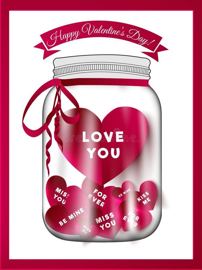 Terraplén de la botella de cristal con la tarjeta de los mensajes del amor en el fondo blanco para el día de tarjeta del día de S stock de ilustración