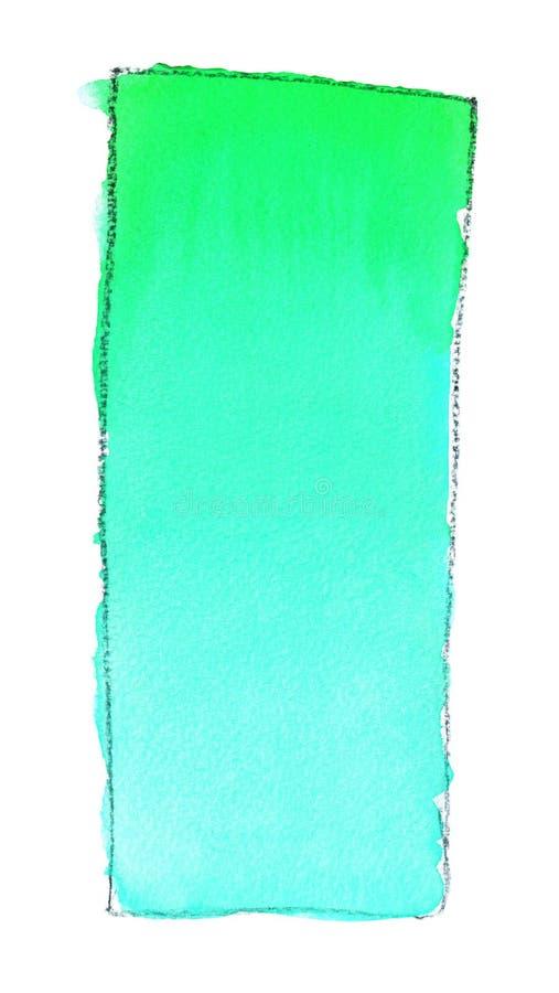 Terraplén de la pendiente de la acuarela del azul a ponerse verde para el fondo Textura del papel de la acuarela Un rectángulo ve ilustración del vector