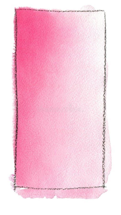 Terraplén de la pendiente de la acuarela del rosa al blanco para el fondo Textura del papel de la acuarela Un rectángulo vertical ilustración del vector
