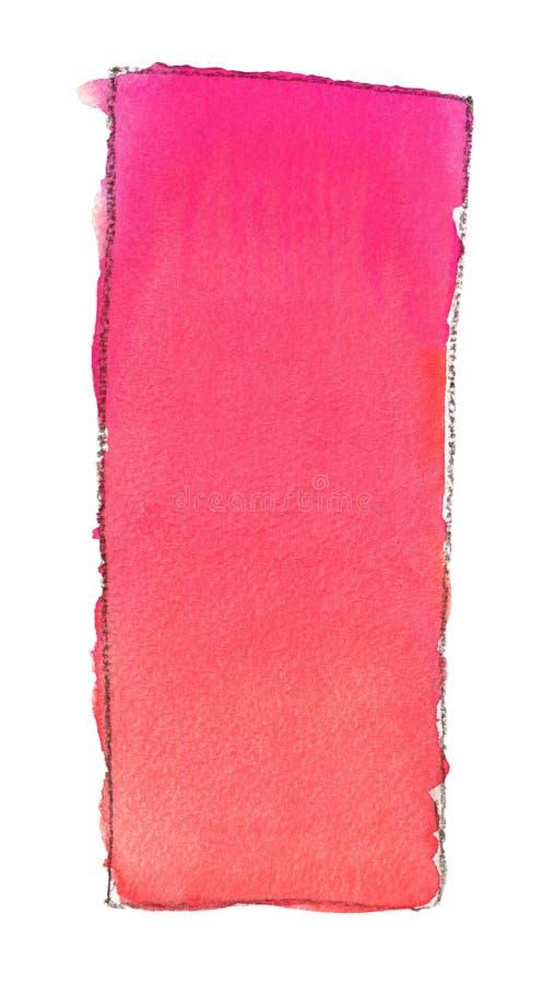 Terraplén de la pendiente de la acuarela del rosa al rojo para el fondo Textura del papel de la acuarela Un rectángulo vertical l ilustración del vector