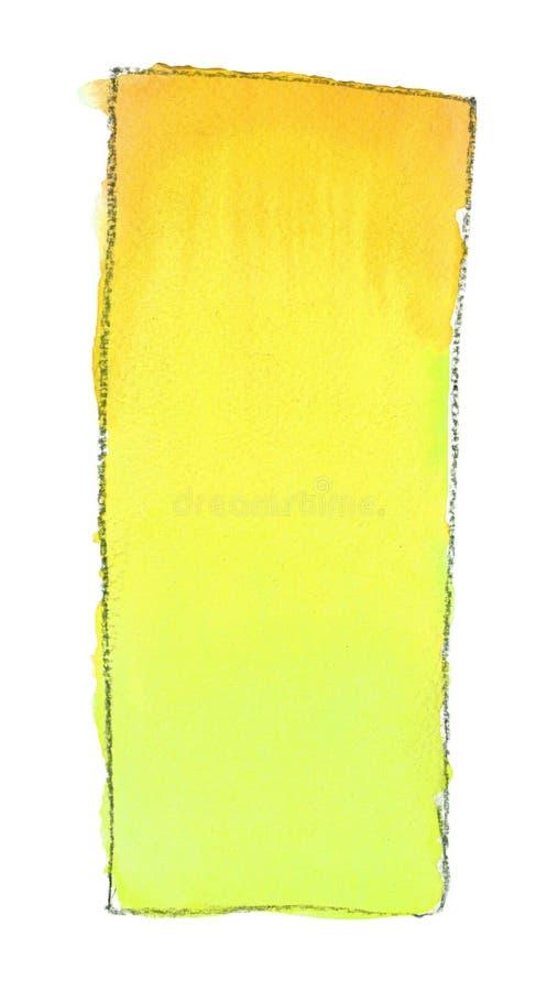 Terraplén de la pendiente de la acuarela de la naranja a ponerse verde para el fondo Textura del papel de la acuarela Un rectángu ilustración del vector