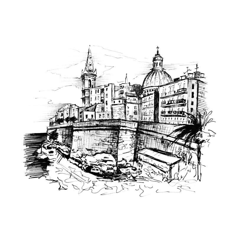 Terraplén de La Valeta, Malta stock de ilustración