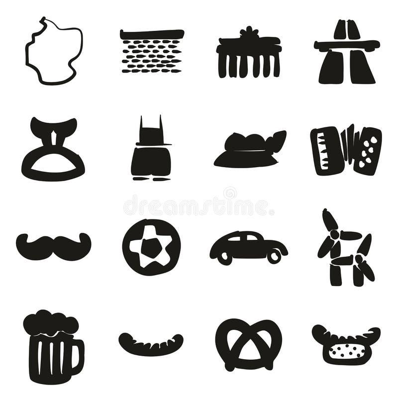 Terraplén de los iconos de Alemania a pulso stock de ilustración