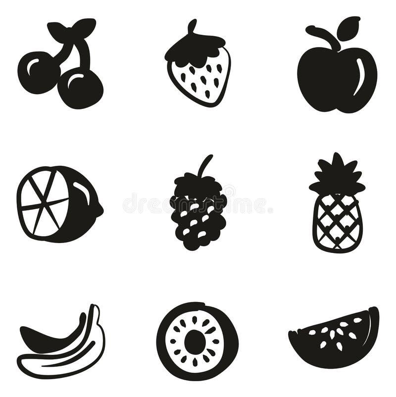 Terraplén de los iconos de la fruta a pulso stock de ilustración