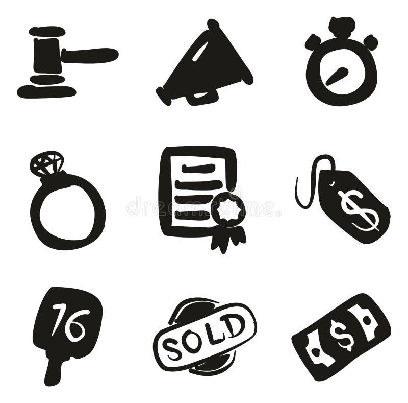 Terraplén de los iconos de la subasta a pulso stock de ilustración