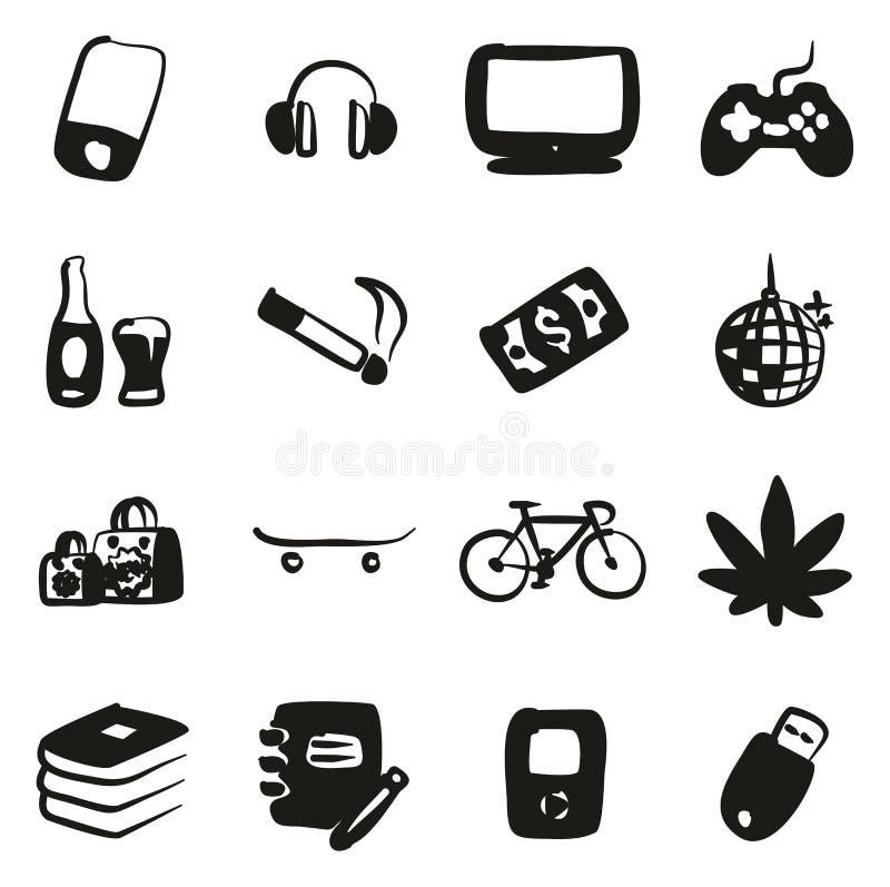Terraplén de los iconos del adolescente a pulso libre illustration