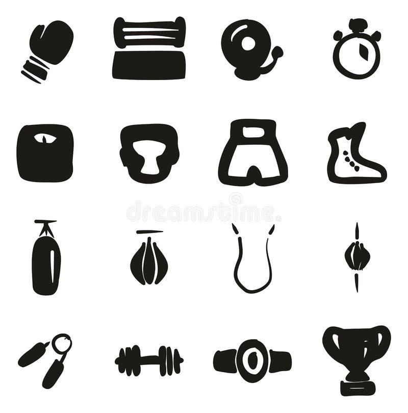 Terraplén de los iconos del boxeo a pulso libre illustration