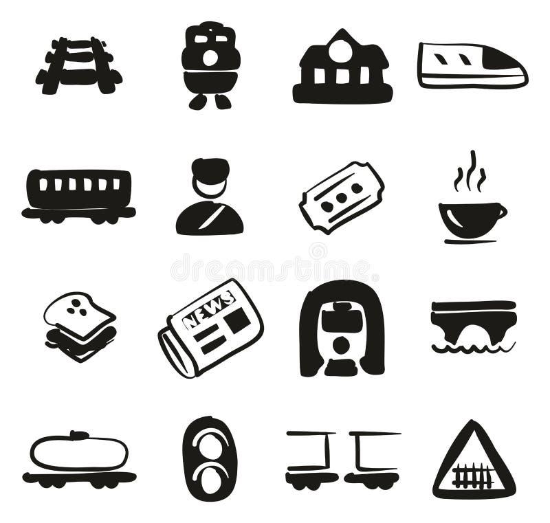 Terraplén de los iconos del ferrocarril a pulso stock de ilustración