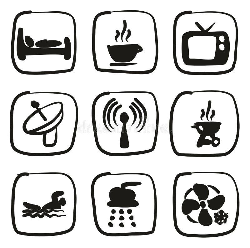 Terraplén de los iconos del motel o del hotel a pulso libre illustration