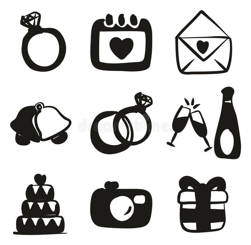 Terraplén de los iconos de la boda a pulso ilustración del vector