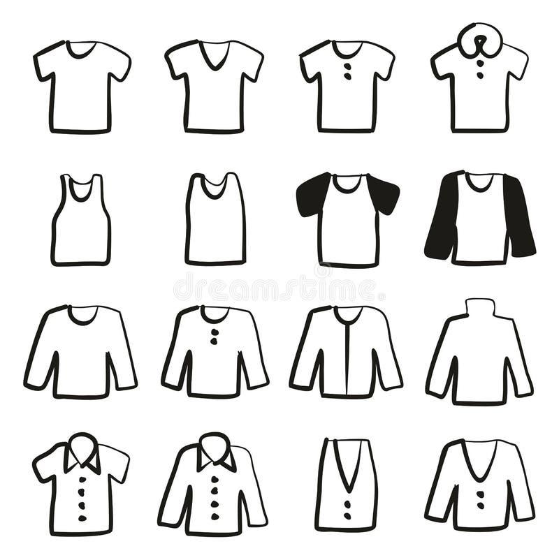 Terraplén de los iconos de la camisa a pulso ilustración del vector
