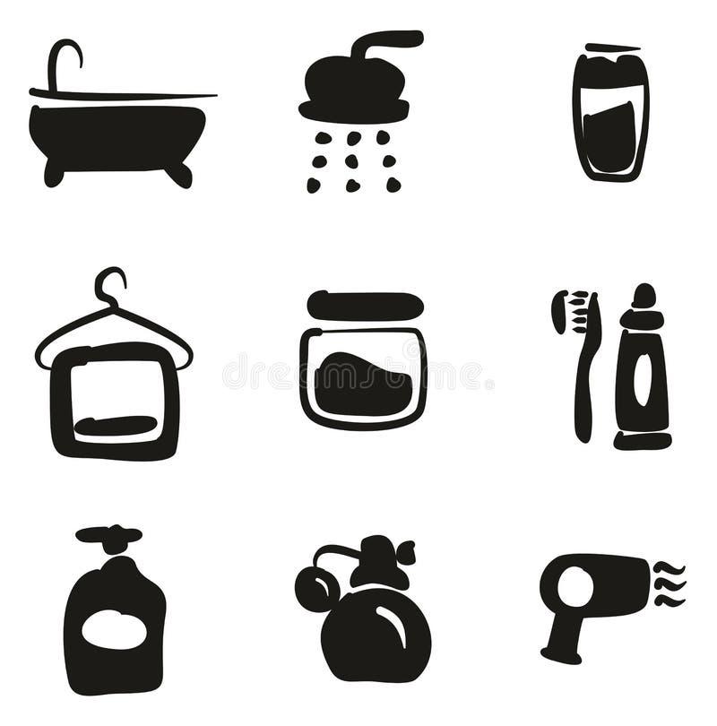 Terraplén de los iconos de la ducha a pulso ilustración del vector