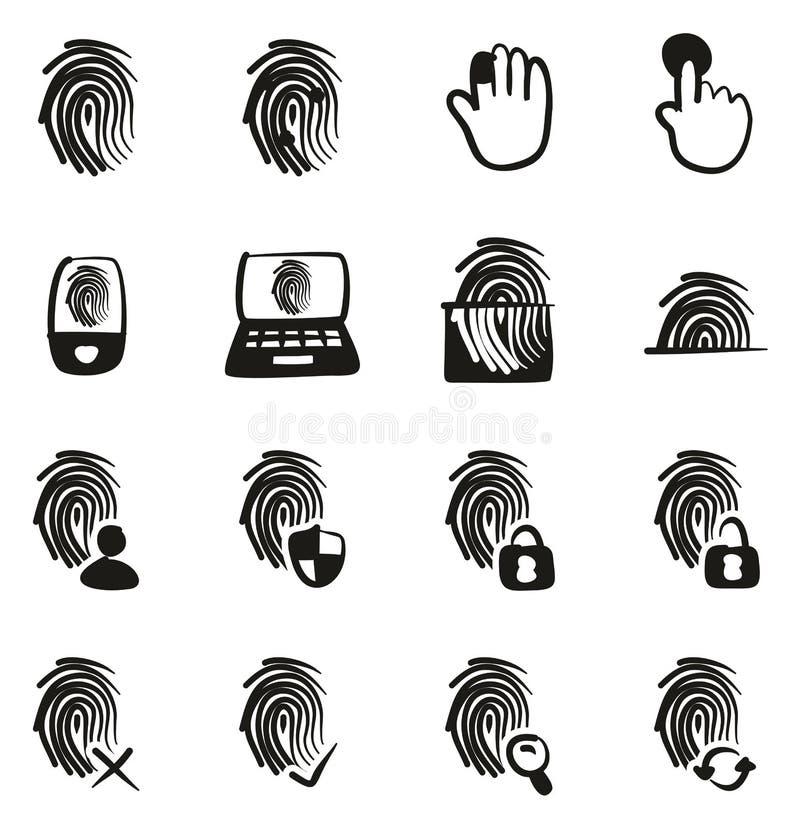 Terraplén de los iconos de la huella dactilar a pulso libre illustration