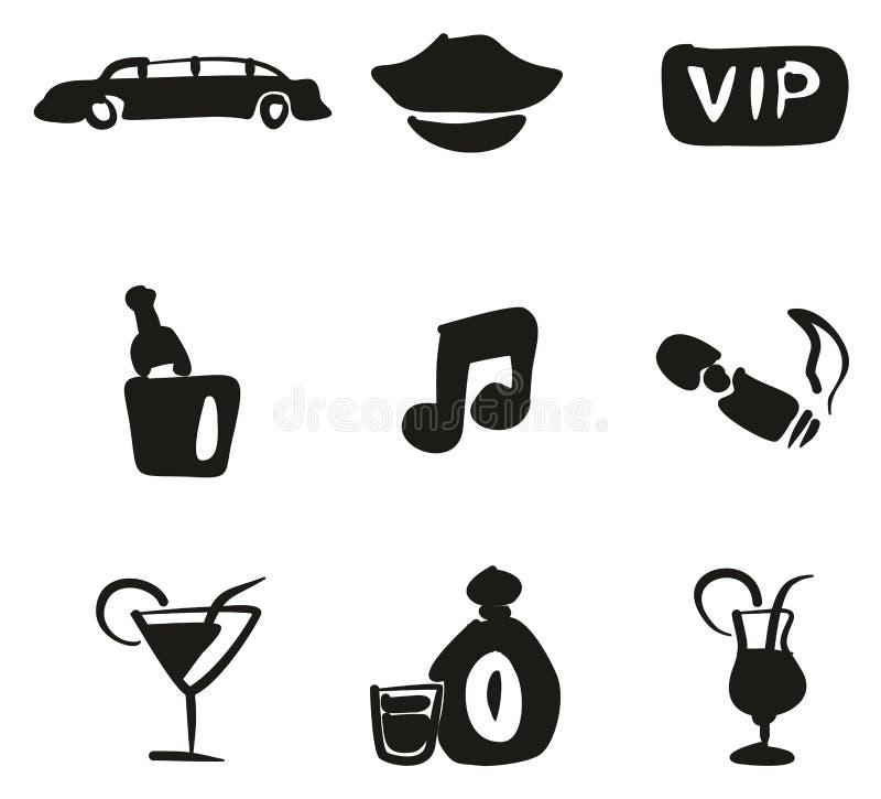 Terraplén de los iconos de la limusina a pulso stock de ilustración