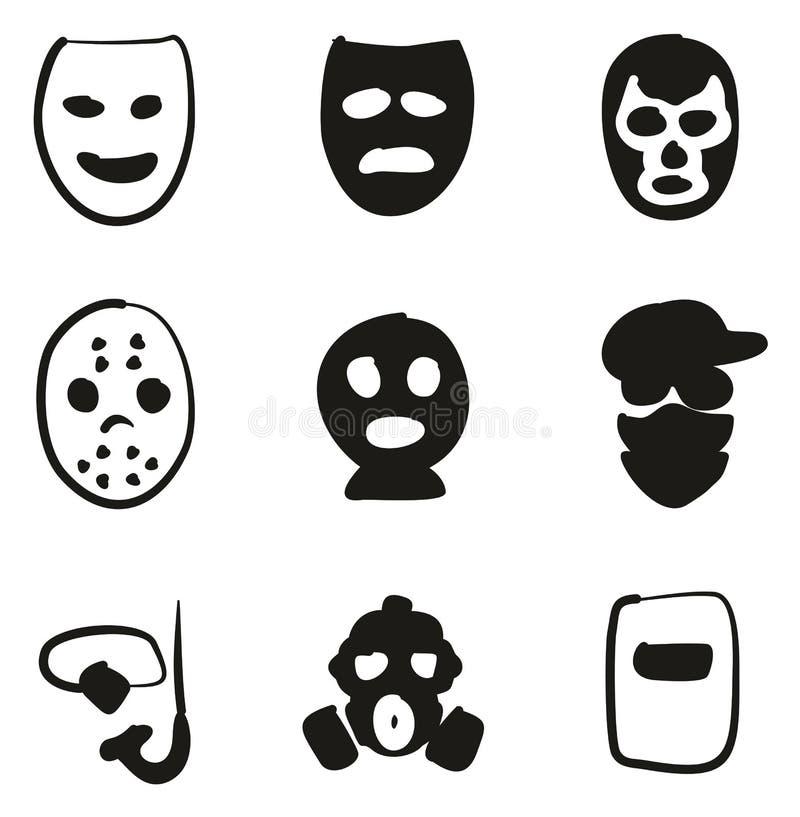 Terraplén de los iconos de la máscara a pulso ilustración del vector