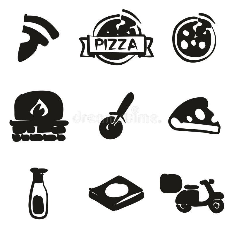 Terraplén de los iconos de la pizza a pulso stock de ilustración