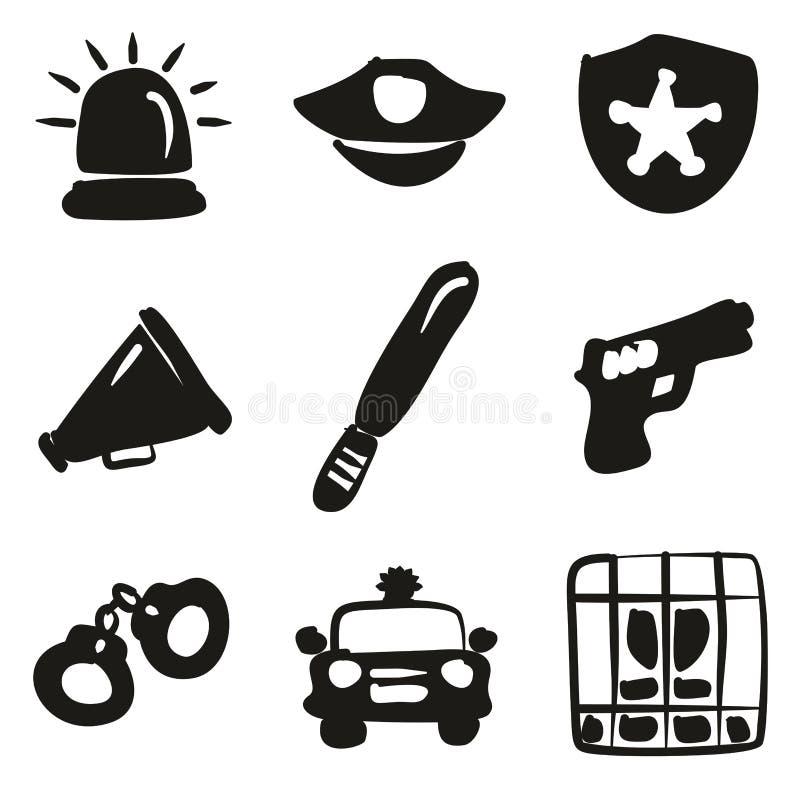 Terraplén de los iconos de la policía a pulso ilustración del vector