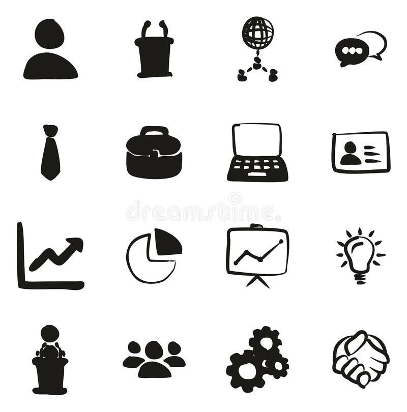 Terraplén de los iconos de la reunión de negocios a pulso ilustración del vector