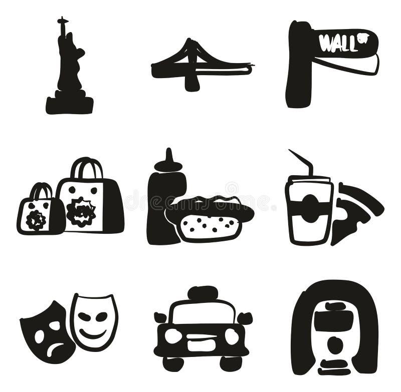 Terraplén de los iconos de Nueva York a pulso ilustración del vector