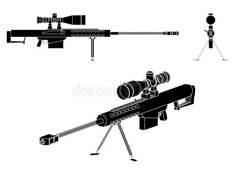 Terraplén del negro del arma del francotirador ilustración del vector