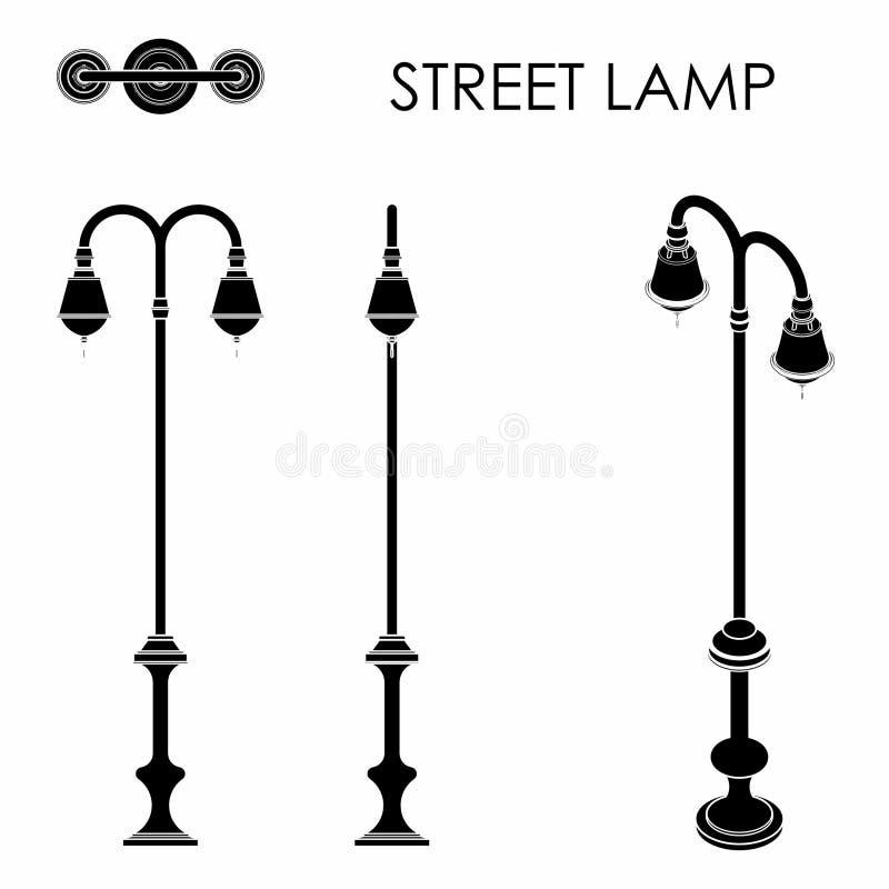 Terraplén del negro de lámpara de calle libre illustration