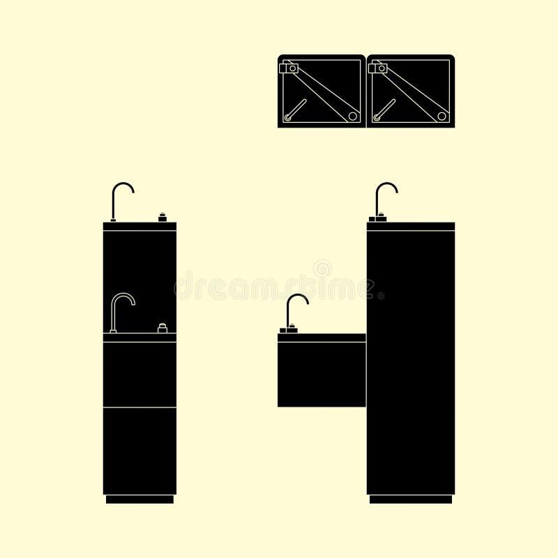 Terraplén del negro de la fuente de consumición ilustración del vector