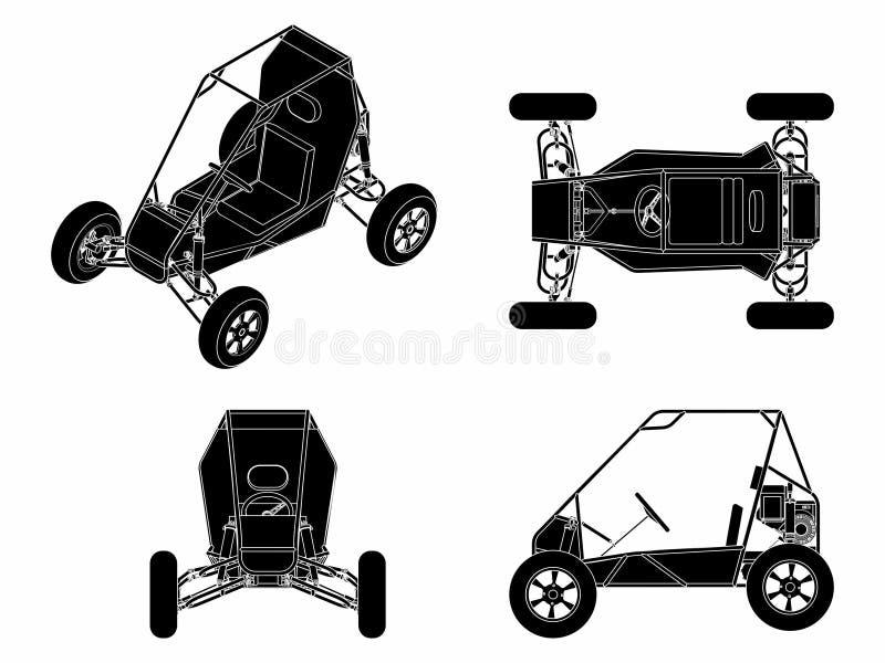 Terraplén del negro del vehículo de Baja libre illustration
