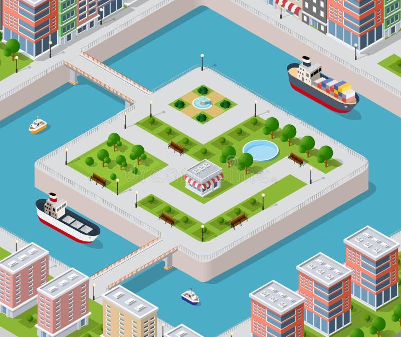 Terraplén del río con ilustración del vector
