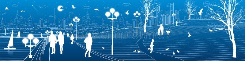Terraplén ity del ¡de Ð Paseo de la gente a lo largo de la acera Igualación del parque iluminado ilustración del vector