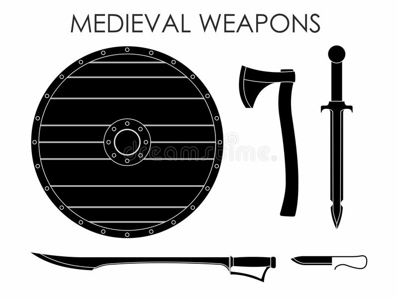 Terraplén medieval del negro de las armas libre illustration
