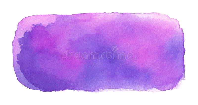 Terraplén púrpura de la acuarela del extracto con las manchas y los bordes ásperos stock de ilustración