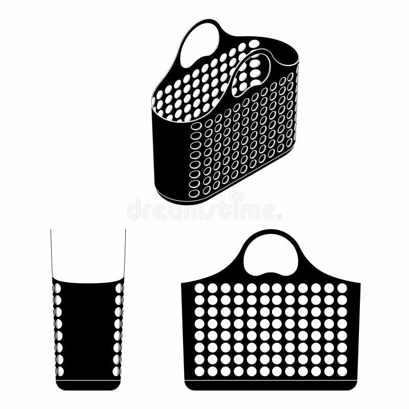 Terraplén plástico del negro de la cesta de compras ilustración del vector