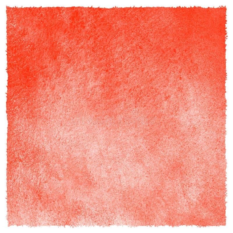 Terraplén rojo del cuadrado de la acuarela de la fresa con el borde áspero stock de ilustración
