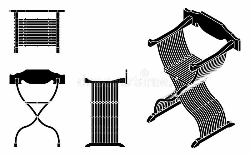 Terraplén romano del negro del asiento ilustración del vector