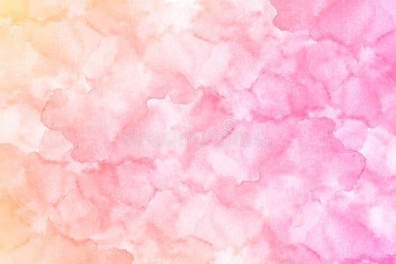 Terraplén rosado amarillo texturizado acuarela abstracta con tensiones stock de ilustración