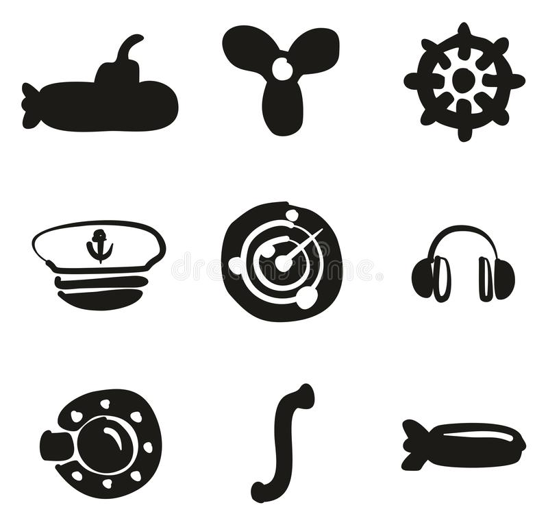 Terraplén submarino de los iconos a pulso stock de ilustración