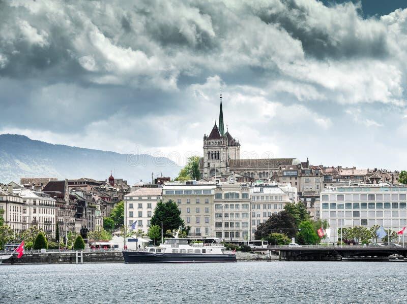 Terraplenagem de Genebra do lago fotos de stock