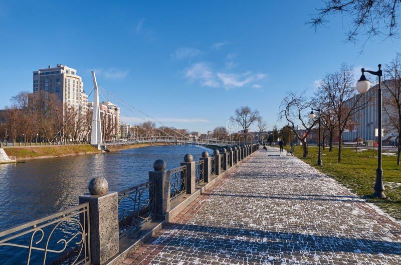 Terraplenagem do inverno Kharkiv ucrânia inverno 2014 fotografia de stock royalty free