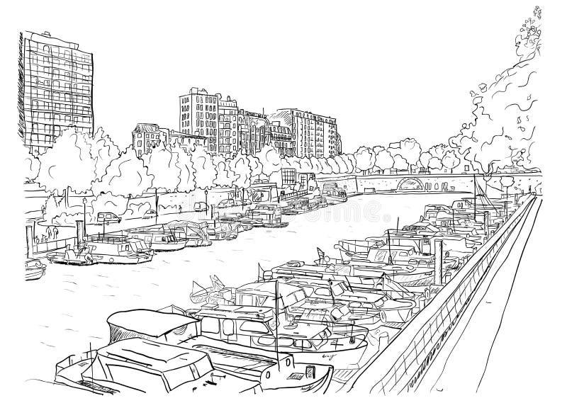 Terraplenagem do rio com os navios. ilustração do vetor