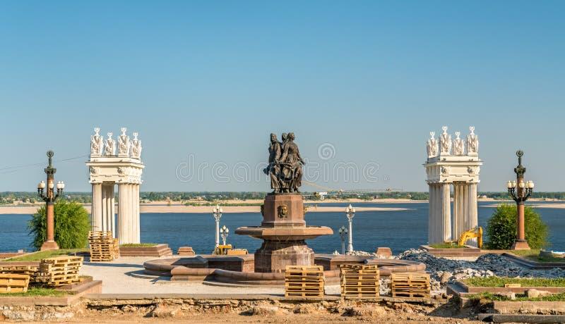 Terraplenagem do Rio Volga em Volgograd, Rússia imagens de stock