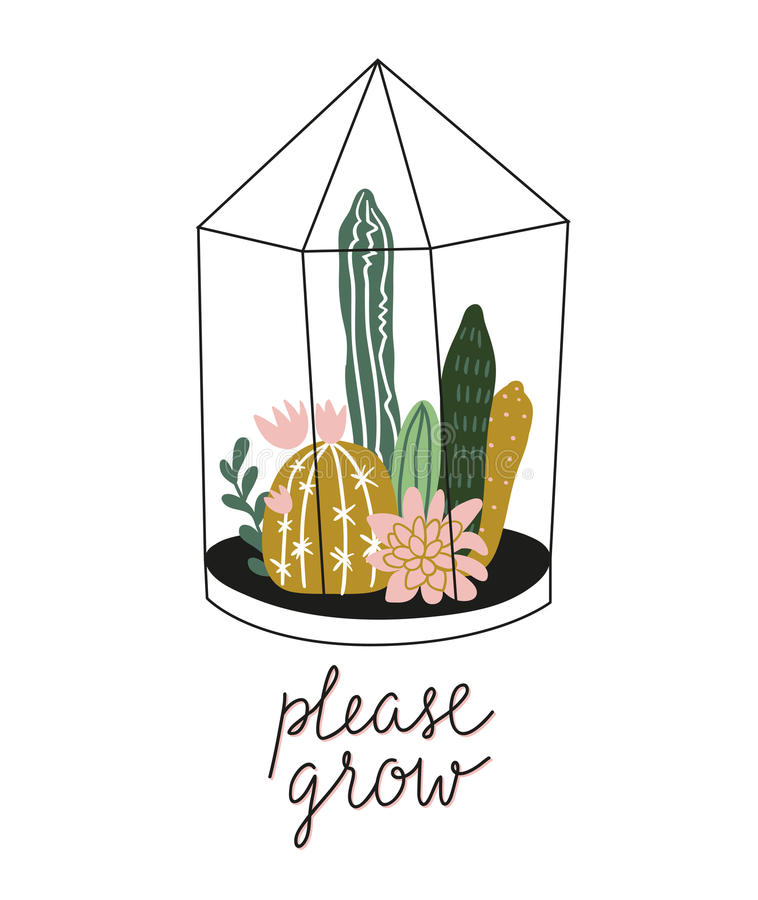 Terrarium with succulents and cacti in scandinavian style with lettering - `please grow`. Vector illustration with home plants. Terrarium with succulents and royalty free illustration